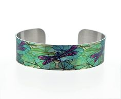 Dragonfly jewellery cuff bracelet, narrow metal bangle with dragonflies and water lilies. C42