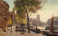 """""""Flower market in Rotterdam"""" """"Blumenmarkt in Rotterdam"""" Heinrich Hermanns, from Dusseldorf, Germany (1862 - 1942)"""
