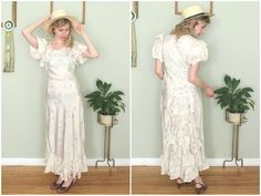 1930s Pale Floral Bias Cut Gown // Vintage by firstladiesvintage