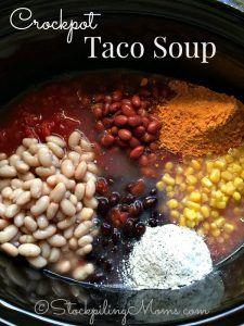 Crockpot Taco Soup Rock Crock Recipes, Ww Recipes, Soup Recipes, Salad Recipes, Slow Cooker Soup, Slow Cooker Recipes, Crockpot Recipes, Bread Crockpot, Recipes