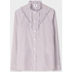 Paul Smith Women's White And Charcoal Striped Shirt With Frill... ($200) ❤ liked on Polyvore featuring tops, white stripes shirt, collared shirt, white cotton tops, white ruffle shirt and white shirt