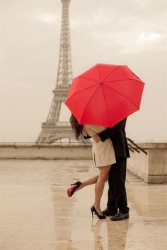 "love this pose for a picture. Write ""I said yes"" on the umbrella for an engagement photo!"