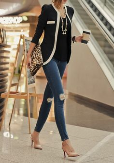Black Patchwork Pockets Casual Slim Blazer - Suits - Tops