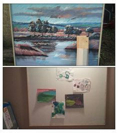From an outdated extremely large canvas to a new display for Claire's art!!