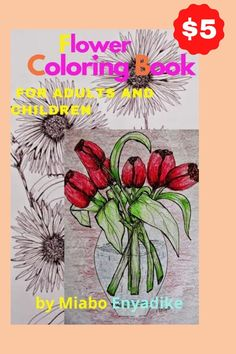 Download this 8 pages of Flower Coloring book for Adults. Each art is a  drawing/illustration of a specific flower in detail, by miabo enyadike a fine artist whose art illustrations are widely collected.  These are the flowers you will find and color in this adult color book and they include: Aster, Daffodils, Tulips, saffron, Marigold and Sunflowers. Each flower illustration will be downloaded individually once purchased and you can paint your heart out!...