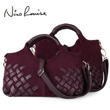 #Retro European style noble weave nubuck Leather Soft women handbags totes Shoulder Bags lady cross