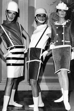 "The model on the far right is wearing a style of boot that was very popular among girls in Southern California when I was a teen in the 1960s...They were a low flat heeled, white leather or vinyl boot...sometimes fitted like in this photo and sometimes with a loose fitting top...they were all known by the catch phrase of ""Courrèges"". We didn't know they had anything to do with this French designer. In this photo: Courrèges Girls: Suits from André Courrèges, 1960's"