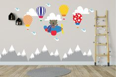 Mountains Wall Decals Hot Air Balloons, Kids Wall Decals, Wall Decal Nursery, Nursery Wall Decal, Baby Wall Decal, Kids, REMOVABLE REUSABLE Star Nursery, Baby Girl Nursery Decor, Nursery Themes, Baby Wall Decals, Vinyl Wall Decals, Balloon Wall, Balloons, Air Balloon, Travel Theme Nursery