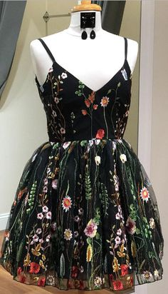 2018 short black prom dress homecoming dress, black floral prom dress party dress