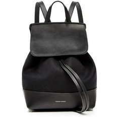 Mansur Gavriel Canvas Mini Backpack In Black With Red Interior (695 CAD) ❤ liked on Polyvore featuring bags, backpacks, red backpack, red bag, red canvas bag, canvas rucksack and miniature backpack