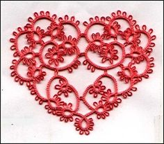 """Susan K Fuller's """"Heart's Desire"""" from the book A Potpourri of Tatted Patterns Shuttle Tatting Patterns, Needle Tatting Patterns, Tatting Jewelry, Tatting Lace, Granny Square Crochet Pattern, Tunisian Crochet, Tatting Tutorial, Hand Tats, Vintage Sewing Machines"""