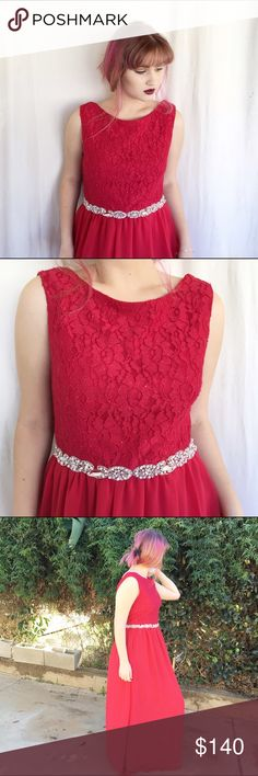 Gorgeous Deep Red Prom Dress Stun in this gown. Size junior 13 fits a little smaller though. Never worn, only for photos. Will ship in original bag. This dress features beautiful diamond detailing. Not actually Sherry Hill. ❤ NO TRADES ❤ ❤ YES OFFERS ( bundle offers too) ❤ ❤ NO LOWBALLS ❤ ❤ FREE GIFT $25 + ❤ ❤ CLOSET DISCOUNT 15% OFF 2+ ❤ Sherri Hill Dresses Prom