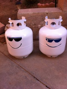 Freshly painted propane tanks. Added cool sunglasses and smile. Using on travel trailer.
