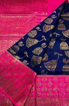 Shop online for Blue Handloom Banarasi Dupion Silk Saree