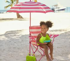 Pink Stripe Freeport Chair & Umbrella | Pottery Barn Kids