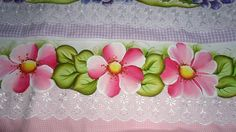 Fabric Painting by fatima DishclothsStoffmalereien von Fátima Sá: P Flower Tattoo Designs, Flower Tattoos, Fabric Paint Designs, Cutwork, Fabric Painting, Diy And Crafts, Lily, Rose, Creative
