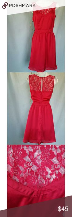 """DROP LCLAUREN CONRAD RED SILK LACE FIT AND FLARE LAUREN CONRAD RED SILK AND LACE FIT AND FLARE Wear this beautful dress for YOUR special holiday occasion. You will look stunning when you add some cute evening shoes and sexy accessories.  Fully lined and invisible zipper. Body of dress and lining are 100% polyester and the lace is 100% nylon. Measurements are approximate and taken flat. They are as follows: armpit to armpit 16.5"""" waist 15"""" and length from shoulder to hem is 35"""". LC Lauren…"""