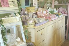 This is the Littlecote Soap Co. in England; I love the way their shop is designed and laid out - I'm using it as inspiration for my little place!