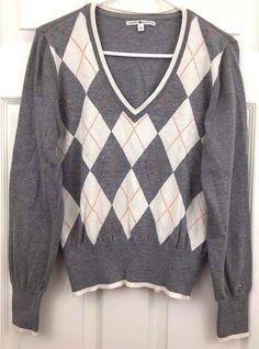 Tommy Hilfiger Pullover Sweater V Neck Long Sleeve Size L WhiteGrayOrange Metal #TommyHilfiger #PulloverVNeck