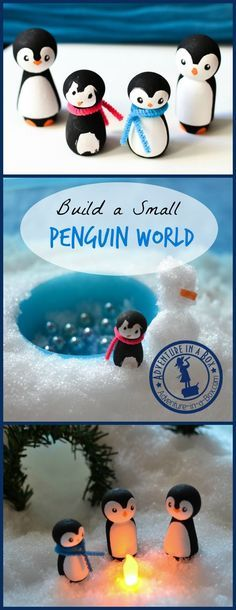 PEG & CLOTHESPIN DOLLS - Build a Penguin Small World! A cute winter craft and a sensory activity. Turn wooden peg dolls into a family penguins and build a small world for them. Winter Theme, Winter Fun, Winter Craft, Wood Peg Dolls, Clothespin Dolls, Doll Crafts, Cute Crafts, Creative Crafts, Preschool Crafts