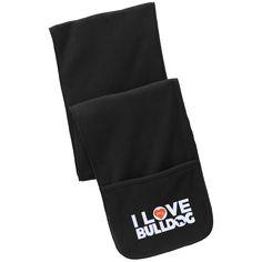 I Love My Bulldog - Fleece Scarf with Pockets