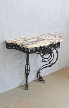 19th Century Wall Mounted, Wrought Iron Console With Marble Top | From A  Unique Collection Of Antique And Modern Console Tables At ...