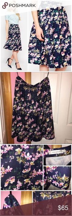 """✨SALE✨ ASOS Style London Floral Midi Skirt Sale price is firm so no offers will be accepted. Only tried on and has been washed. Brand is Style London from ASOS. Pleated skirt. All over floral print. Has a back zipper. 95% polyester and 5% elastane. Measurements: waist is approx 30"""" and length is approx 27"""". Stock photos from ASOS. ❌NO TRADES❌ ASOS Skirts Midi"""