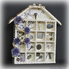 As for Me and My House by Tracey Sabella: ScrapFIT, Donna Salazar ~ Botanique, Grand Peony dies, Donna Salazar crackle stamp, lace, trinkets, Stamping, Hand Crafted flowers, Shadow Box, Altered, Home Decor, Altered Chipboard
