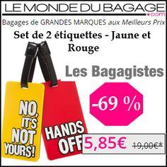 #missbonreduction; Remise de 69 % sur le Set de 2 étiquettes - Jaune et Rouge chez Le Monde du Bagage.http://www.miss-bon-reduction.fr//details-bon-reduction-Le-Monde-du-Bagage-i855311-c1831607.html