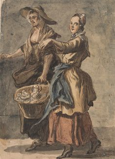 Paul Sandby, 1731-1809, British, Two Women holding a Basket, ca. 1759, Watercolor, pen and brown ink and gouache on medium, beige, slightly ...