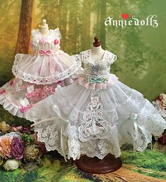 Incredible handmade lace dresses (everything made by Annie). Great for scraps. Doll Patterns, Clothing Patterns, Shabby Chic Crafts, Dress Hats, Fairy Dolls, Little Dresses, Fashion Dolls, Doll Clothes, Paper Dresses