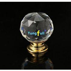 10 unids/set Clear Crystal Glass Perillas de Puerta Del Diamante Cajón Armario Tire de la Manija Del Gabinete Perillas Muebles de Cocina en la Base de Oro