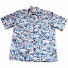 Olukai Blue Hawaiian Reverse Shirt   #madeinhawaii #hawaiianshirt #floralshirt #hawaiianshirts #alohashirt