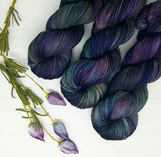 """Annabel Lee""; Hand dyed yarn, indie dye, sock yarn. Lambstrings.etsy.com Crochet Yarn, Knitting Yarn, Knitting Ideas, Yarn Inspiration, Spinning Yarn, Yarn Stash, Sock Yarn, Textiles, Hand Dyed Yarn"