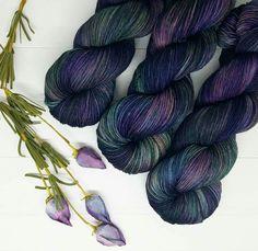 """""""Annabel Lee""""; Hand dyed yarn, indie dye, sock yarn. Lambstrings.etsy.com Crochet Yarn, Knitting Yarn, Knitting Ideas, Yarn Inspiration, Spinning Yarn, Yarn Stash, Sock Yarn, Annabel Lee, Hand Dyed Yarn"""