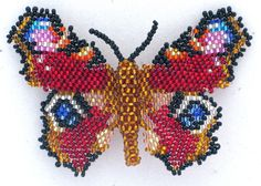 Beaded Butterfly Inachis Io. Hairslide | Bead-Patterns.com