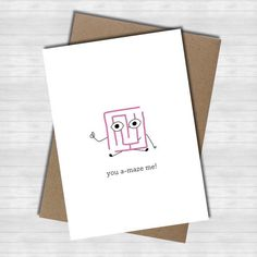 Items similar to you a-maze me! -CARD cute funny pun puns congratulations encouragement friendship relationship love wordplay on Etsy Cute Puns, Funny Puns, Funny Quotes, Quotes Quotes, Funny Birthday Cards, Diy Birthday, Birthday Humorous, Birthday Puns, Birthday Sayings