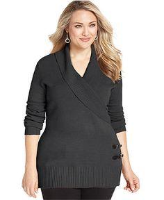 Debbie Morgan Plus Size Sweater, Long-Sleeve Shawl Collar - Plus Size Sweaters - Plus Sizes - Macy's