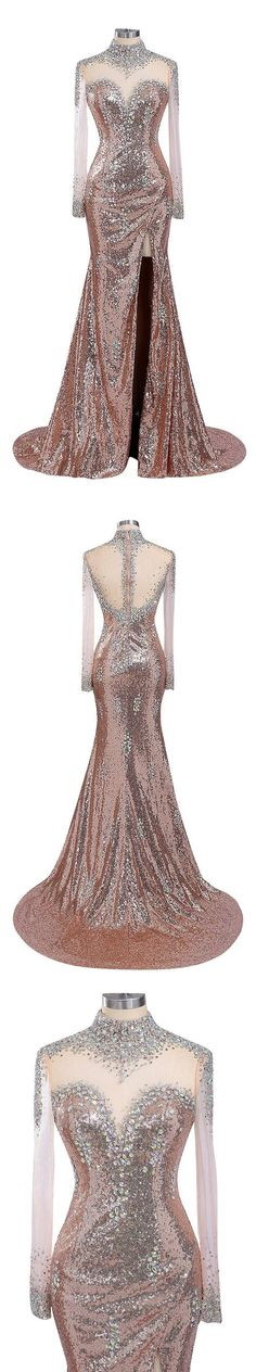 Long Prom Dresses, Sequin Prom Dresses, Mermaid Party Prom Dresses, Side Split Prom Dresses, Rhinestone Prom Dresses, 17248