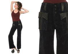 Black Velvet Bell Bottoms 70s Flared Pants by GravelGhostVintage