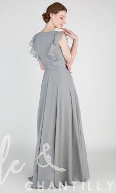 Ruffled Long Sleeveless Chiffon Bridesmaid Dress TBQP414