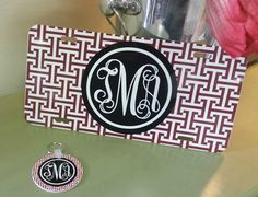 Monogrammed Car Tag and Keychain Bundle-discount offered to purchase the set!