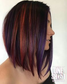 Learn how to get red hair highlights at home using our at-home highlighting kits, as well as tips for taking care of color-treated hair. Natural Hair Styles, Short Hair Styles, Hair Color And Cut, Grunge Hair, Hair Highlights, Purple Hair, Fall Hair, Bob Hairstyles, Twisty Hairstyles