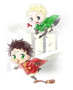 Chibi Harry Potter and Draco Malfoy