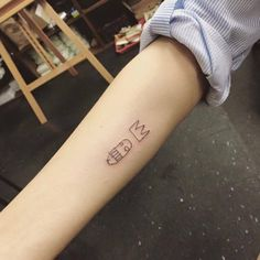 Basquiat adaptation tattoo on the right forearm. Tattoo artist:...