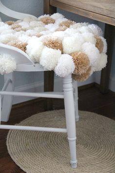 Gorgeous DIY: pom pom chair cover