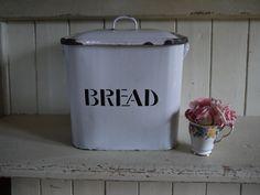 Vintage Enamel Bread Bin - Handle Lid by VintiqueTree on Etsy