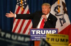 Republican presidential candidate Donald Trump speaks during a campaign event at the University of Iowa.