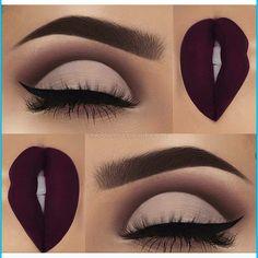 Pastel purple eyes Deep purple lips