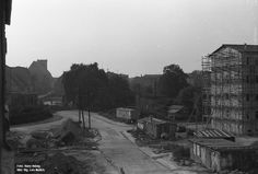 Forst Lausitz, Wiederaufbau in die Mühlenstraße, Blick über die Kreuzung Rüdiger- bzw. Elisabethstraße Richtung Markt, Sommer 1963.